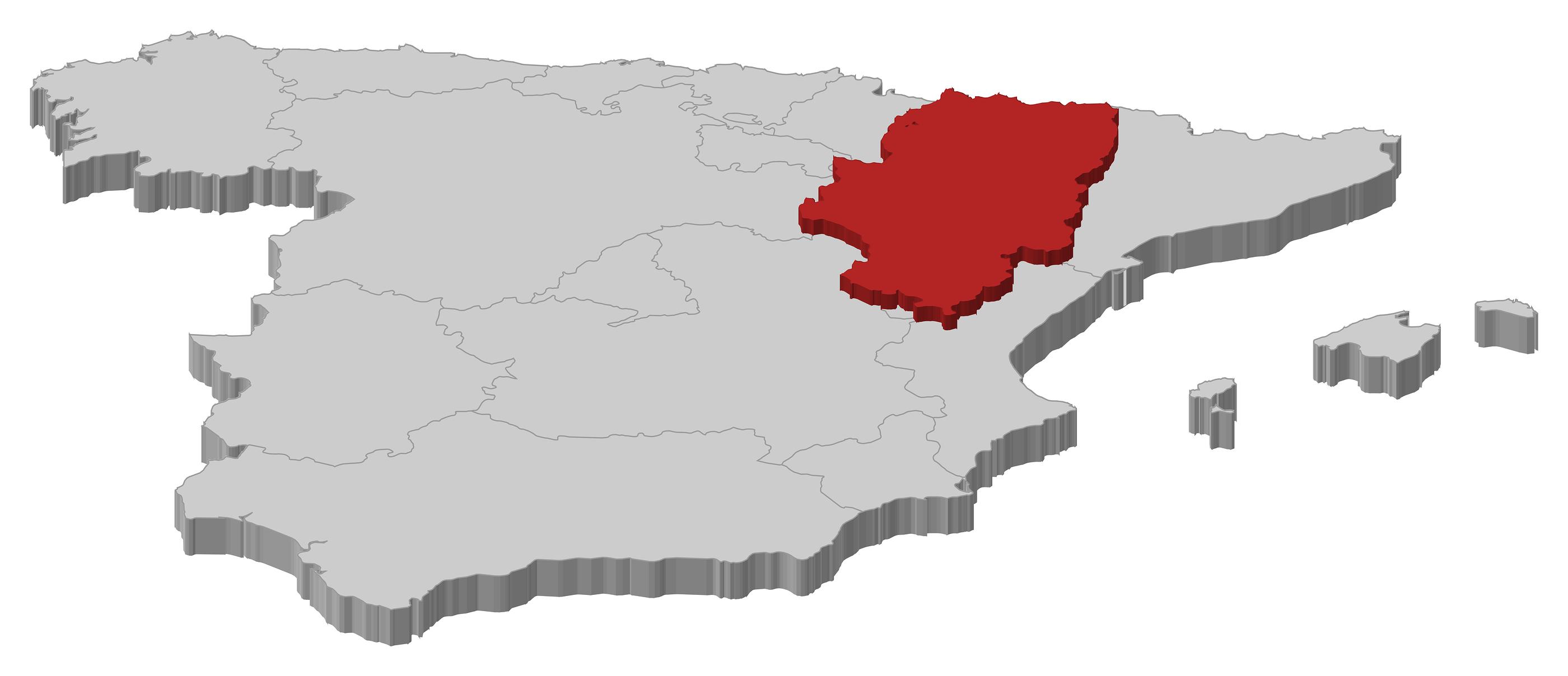 Mapa de España. Aragón