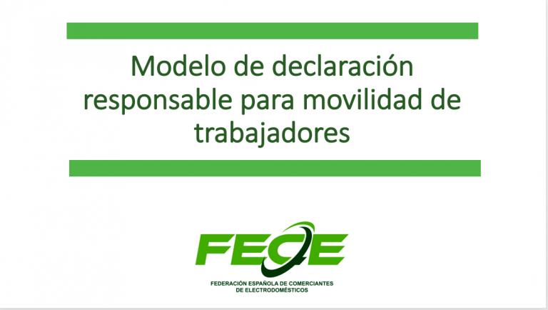 Declaración responsable para movilidad de trabajadores